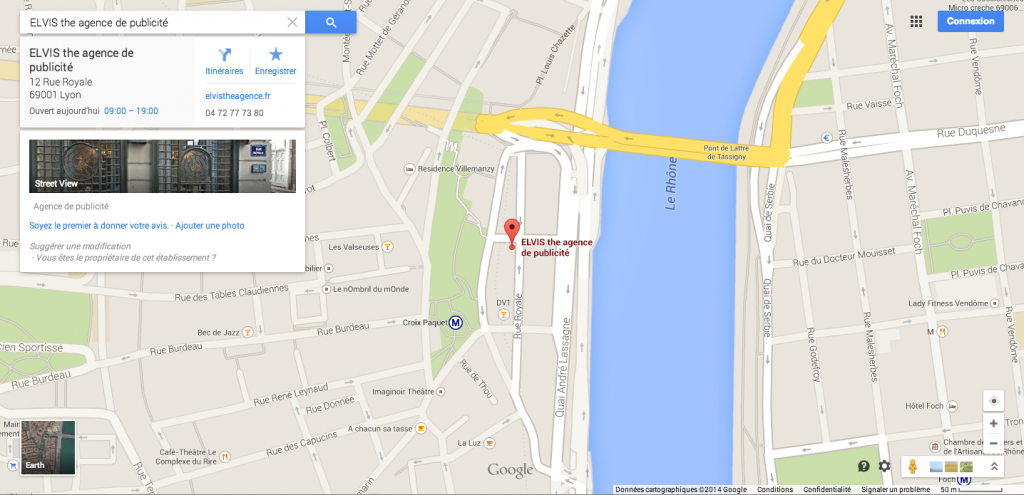 plan google map agence elvis